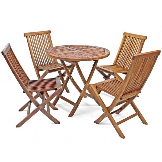 Conjunto de madera de teca muy resistente a los cambios for Conjunto jardin madera