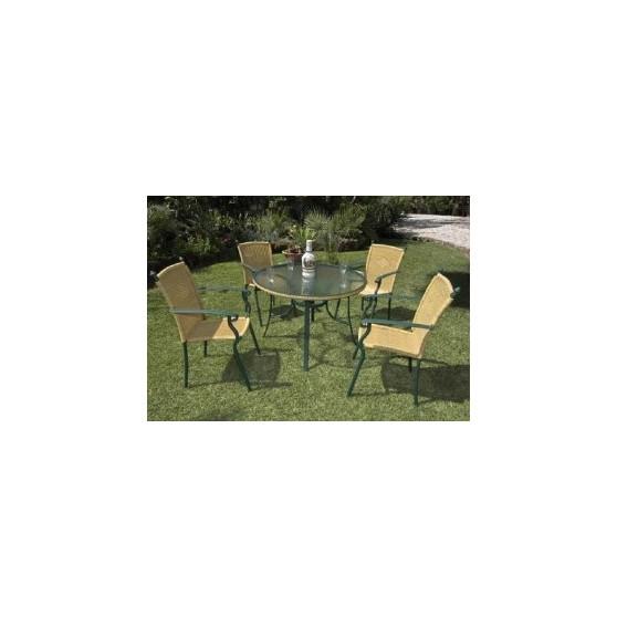 Conjunto de aluminio de gran calidad y silla de rattan for Conjuntos de jardin en aluminio
