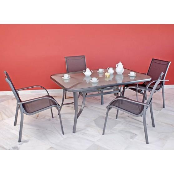 Conjunto de aluminio de gran calidad for Mesa cristal exterior