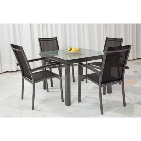 Conjunto de aluminio y sillones de textilene for Conjuntos de jardin en aluminio